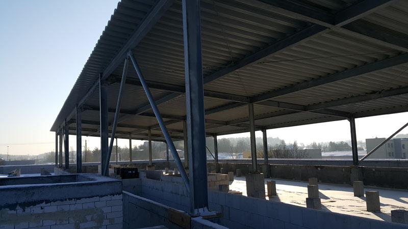 Wykonanie konstrukcji stalowej hali na dachu obiektu przemysłowego